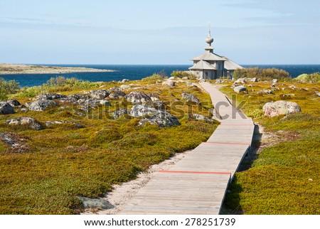 Ecological trail on the Big Zayatsky island, Solovetsky Archipelago, Russia - stock photo