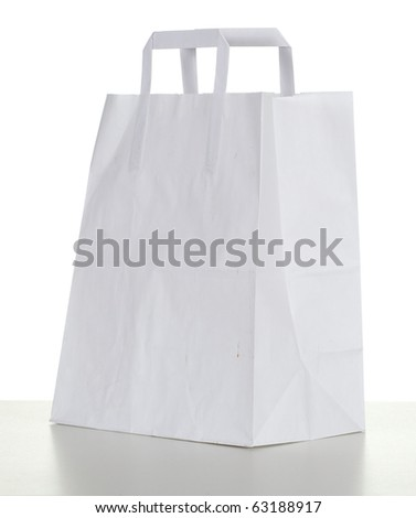 Ecological white paper bag, isolated on white background