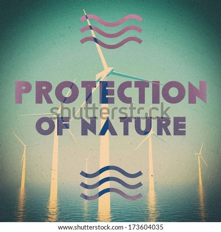 Ecological wind farm grunge vintage poster - stock photo