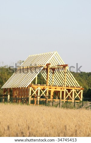 Ecological wooden house - stock photo