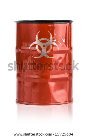 Ecology and safety concept. Damaged biohazard containter isolated on white.