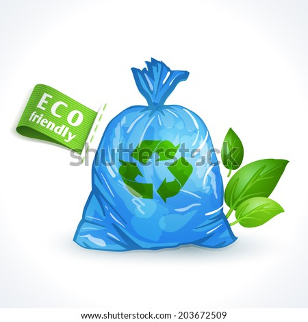 Ecology and waste global eco friendly plastic bag with recycling symbol isolated on white background  illustration - stock photo