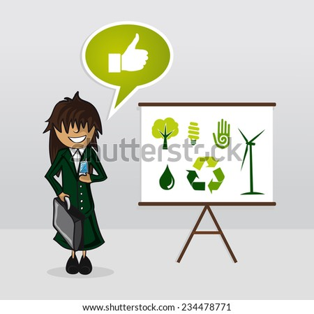 Ecology businesswoman with whiteboard presentation and environment icons. - stock photo