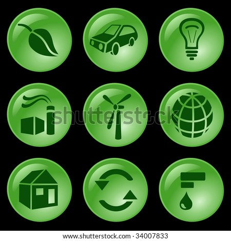 Ecology buttons. See vector version in my portfolio - stock photo