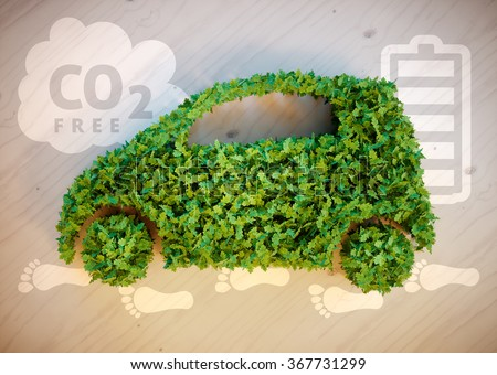 Ecology car concept. 3D illustration. - stock photo