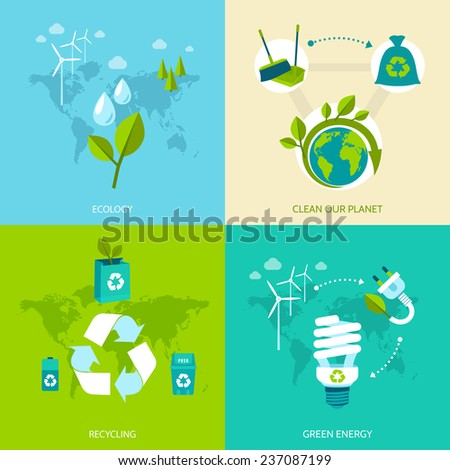 Ecology clean our planet recycling green energy concept icons set isolated  illustration.