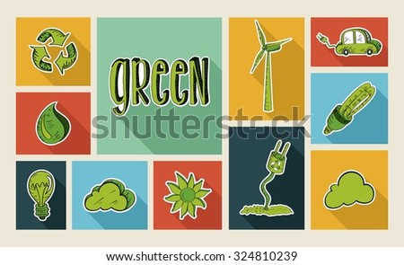 Ecology colorful hand drawn illustration style flat icon set. Environment concept ideal for app and website layout.