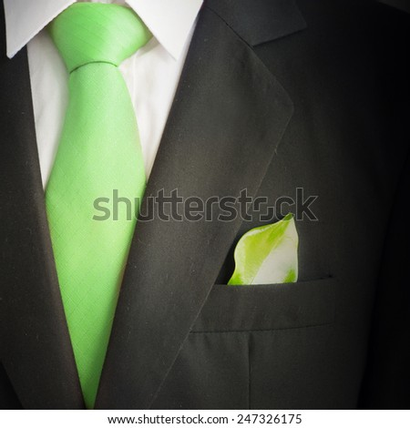 Ecology concept, business suit with green leave - stock photo