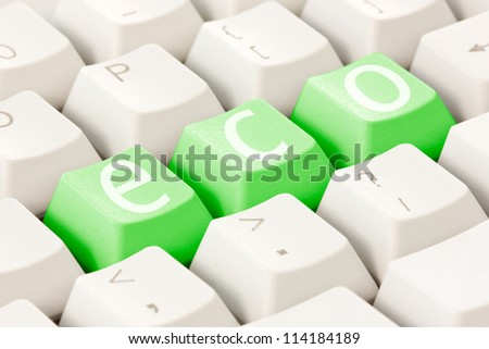 Ecology concept. Computer keyboard with an eco option.