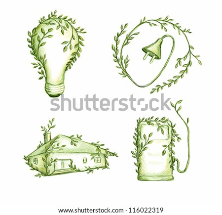 Ecology concept hand made drawing - stock photo