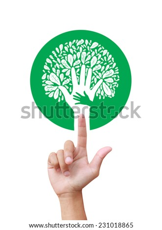 ecology concept - leaf design element made from icons and signs - stock photo