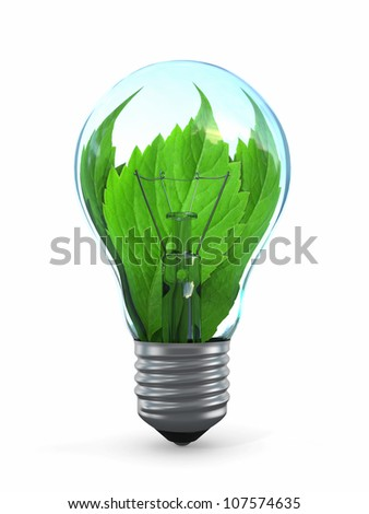 Ecology concept. Light bulb with leaf. 3d - stock photo