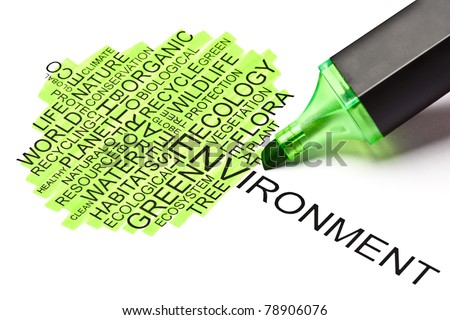 Ecology concept made from related words in the shape of a tree with green felt tip pen - stock photo