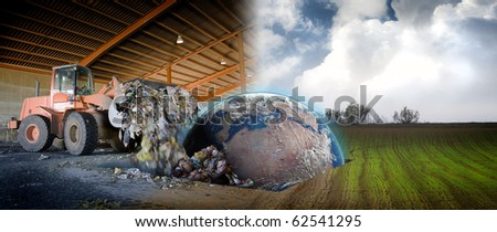 Ecology concept, planet earth in a scrap site - stock photo