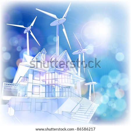 Ecology concept: wind-driven generators & house with solar power systems.  Bitmap copy my vector ID 65081101 - stock photo