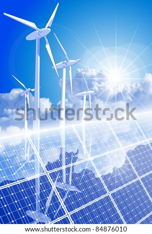 Ecology concept: wind-driven generators, solar power systems & blue sky. Bitmap copy my vector ID 52829065