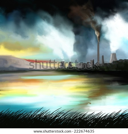 Ecology design concept illustration. Environment pollution. - stock photo