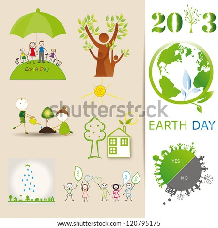Ecology elements you can use on Earth Day - stock photo