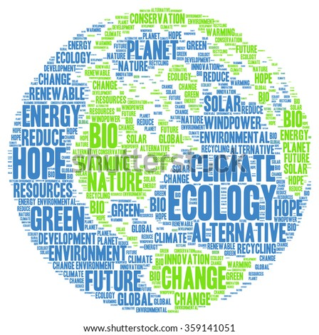 Ecology environment climate word cloud - stock photo