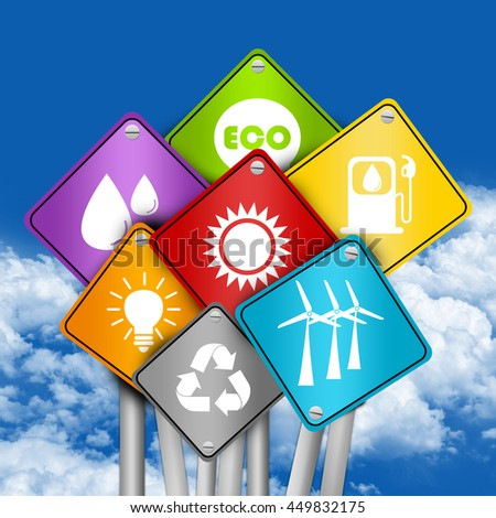 Ecology, Environmental Icon With Colorful Street or Road Sign - stock photo