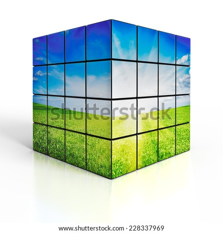 Ecology environmetal nature protection concept: cubes with beautiful landscape on white reflective background - stock photo