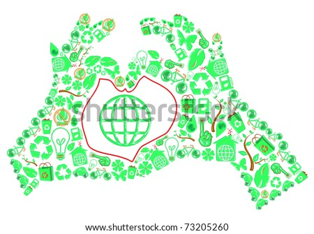ecology hands of love - stock photo