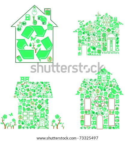 ecology house - stock photo