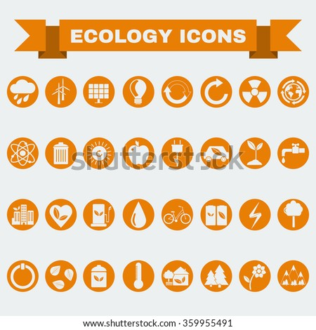 Ecology Icons Set, Nature Symbols. Green energy. Forms and types of renewable energy source. Raster digital illustration. - stock photo