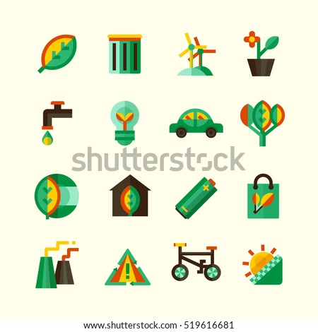 Ecology icons set with different ways of protection of environment isolated  illustration