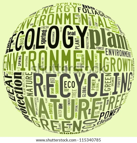Ecology info-text graphics arrangement concept composed in round sign shape on white background - stock photo