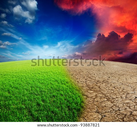Ecology landscape - climate change concept, desert invasion - stock photo