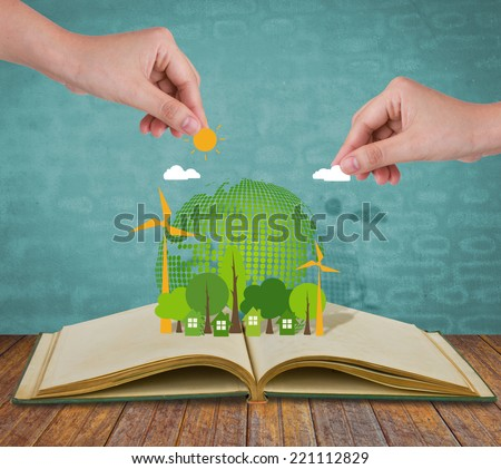 Ecology open book - stock photo