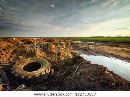 Ecology problem. Conceptual scene. Heap of rubbish. - stock photo