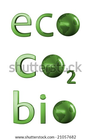 Ecology related 3D text - stock photo