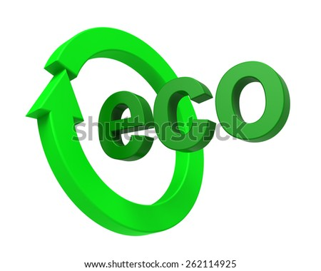 Ecology sign isolated over white. Computer generated 3D photo rendering.
