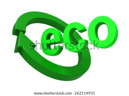 Ecology sign isolated over white. Computer generated 3D photo rendering. - stock photo