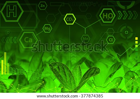 Ecology technology concept - chemical formulas, digital wave, radial elements & green abstract background