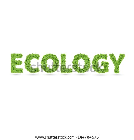Ecology text of green leaves