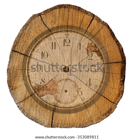 ecology, the dial on the background of felled tree - stock photo