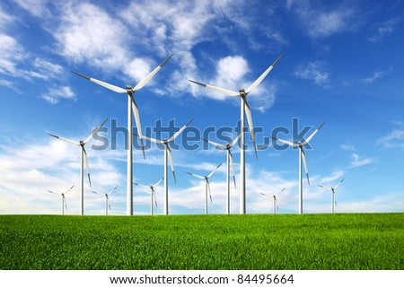 Ecology - Wind power - stock photo