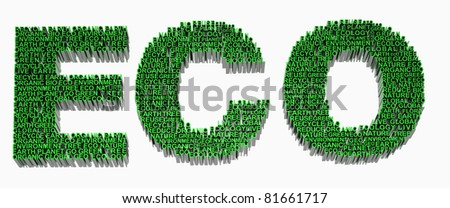 Ecology words related included eco, earth, global, tree, planet, organic, go green, recycle, bio, environment and geo. - stock photo
