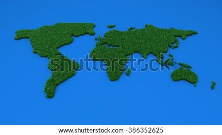 Ecology world map - stock photo