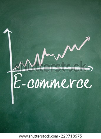 ecommerce chart on blackboard - stock photo