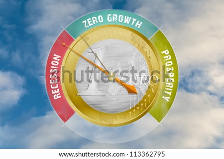 Economic barometer indicates an European recession; concept of the problems with the euro - stock photo
