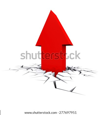 Economic Crisis. 3d red arrow breaking out crack hole. Business fall. - stock photo