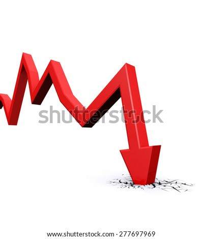 Economic Crisis. 3d red arrow graph falling and breaking in crack hole. Business fall. - stock photo
