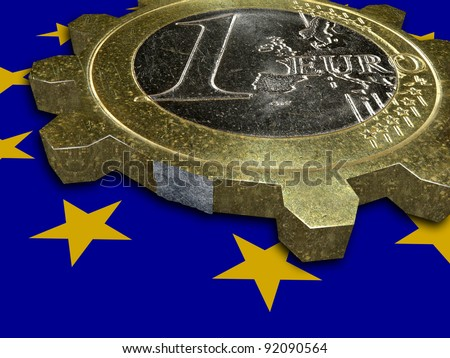 Economic crisis - end of EURO - broken EURO coin gear - stock photo