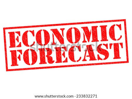 ECONOMIC FORECAST red Rubber Stamp over a white background. - stock photo