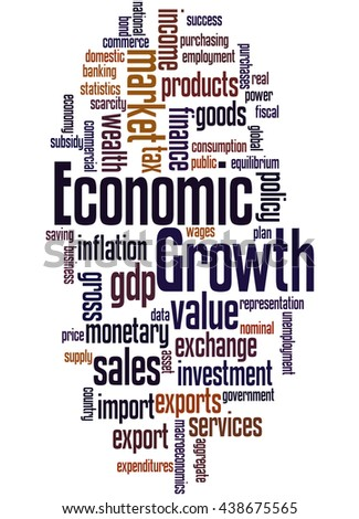 Economic Growth, word cloud concept on white background.