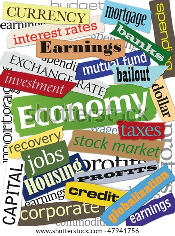 Economic headlines including banking, the housing market and stock sectors. - stock photo